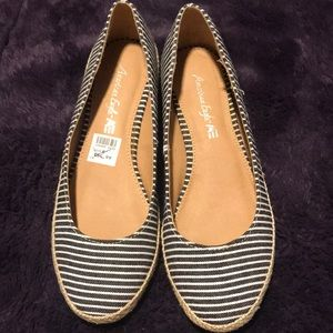 Stripped blue and white flats